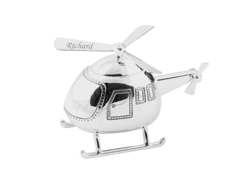 1. Silver Helicopter Money Box