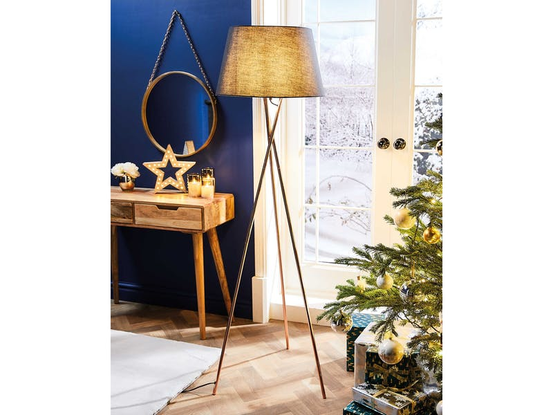 9. White And Gold Tripod Floor Lamp, £39.99