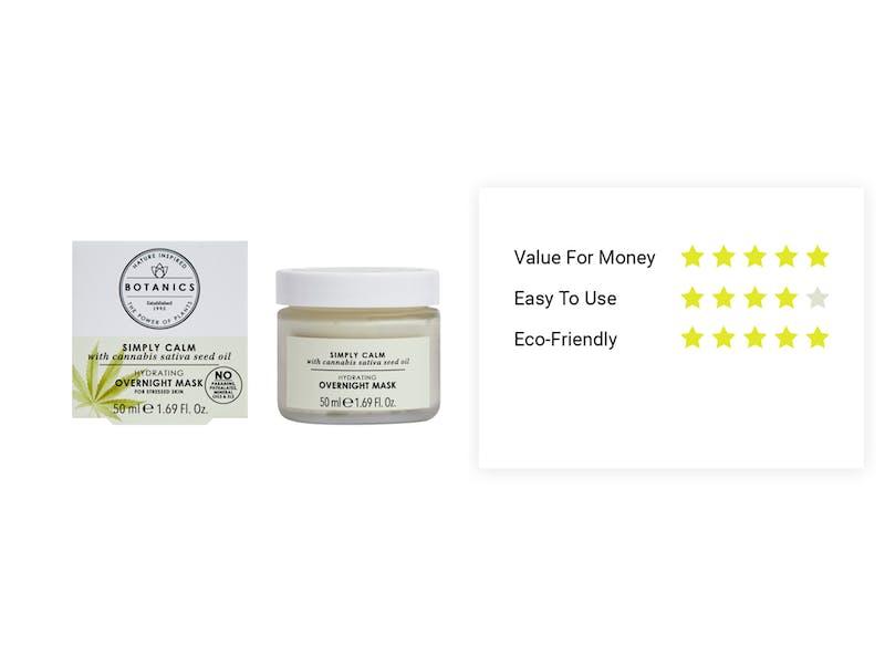 3. Botanics Simply Calm Hydrating Overnight Mask with Cannabis Sativa Seed Oil, £9.99