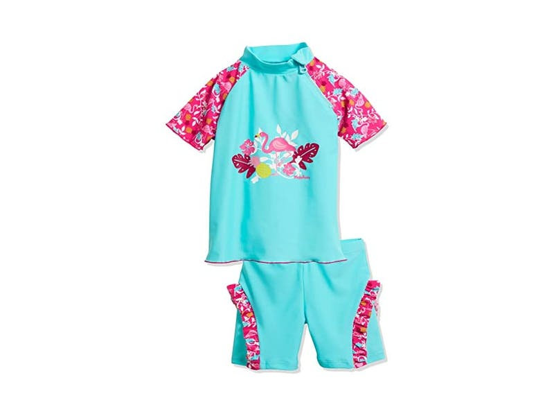 2. Playshoes Girl's UV Sun Protection Flamingo Swim Set