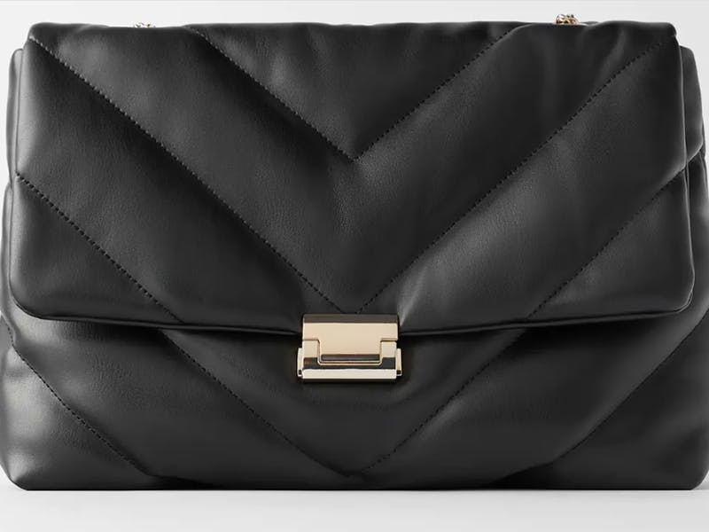 Quilted black crossbody bag with gold details from Zara