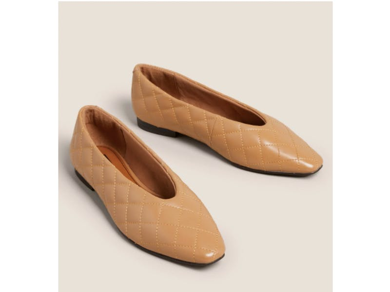 Leather Quilted Ballet Pumps