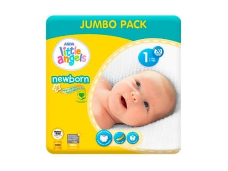 6. Little Angels Newborn Nappies, (70 pack) £2.50