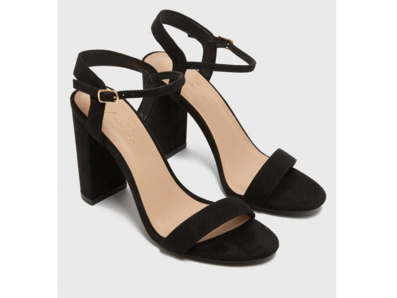 Black Suedette Block Heel Sandals