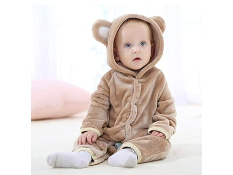 1. Hooded newborn baby romper