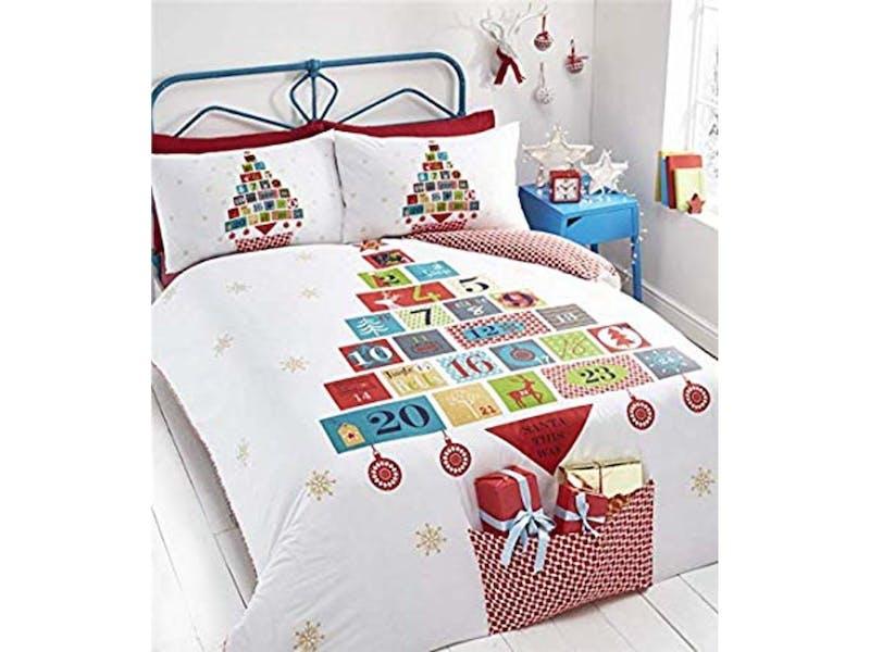 1. Christmas Morning Bedding with Present Pocket