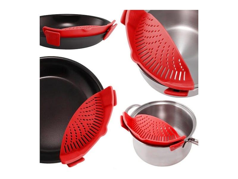 Clip on saucepan strainer