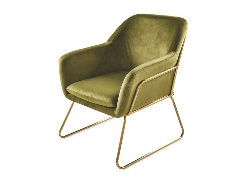 Metal Frame Olive Arm Chair