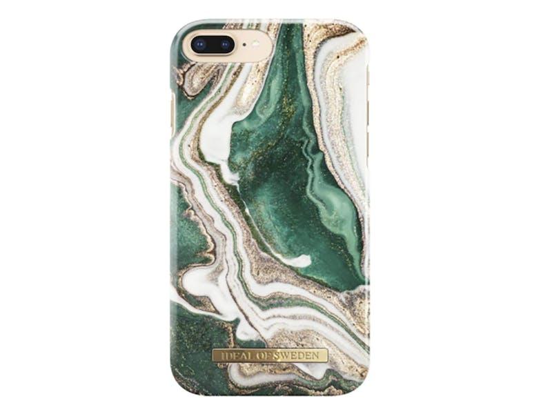 Jade, gold and white swirled phone case