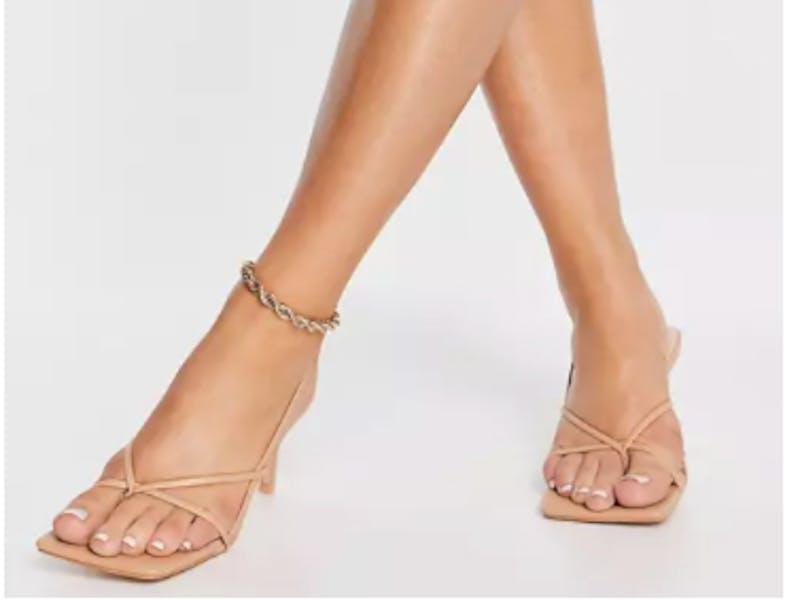 Public Desire Wide Fit Mika heeled sandals in beige