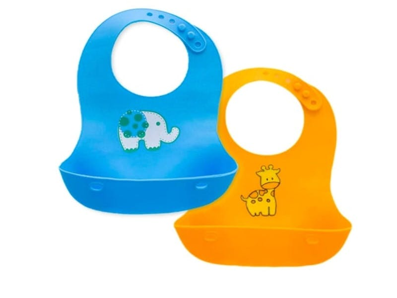 1.  Waterproof Soft Silicone Bibs (two-pack)