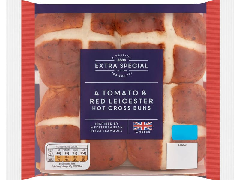 ASDA Extra Special 4 Tomato & Red Leicester Hot Cross Buns