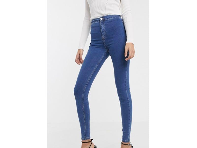 Topshop Tall Joni skinny jeans in mid wash blue