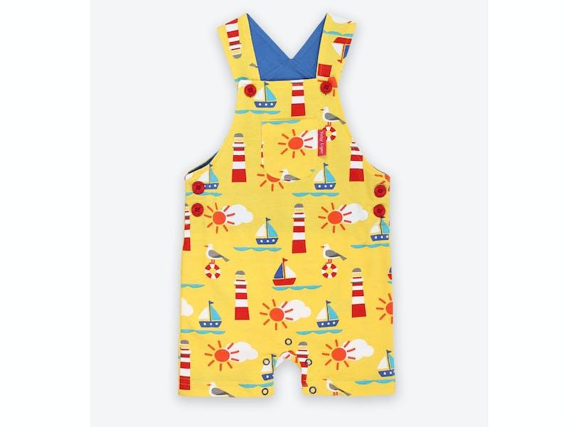 Organic Seaside Print Dungaree Shorts
