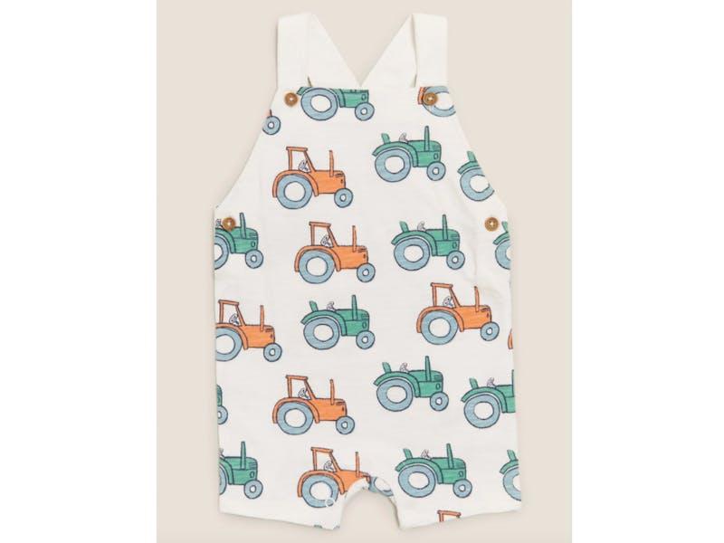Organic Cotton Tractor Print Romper