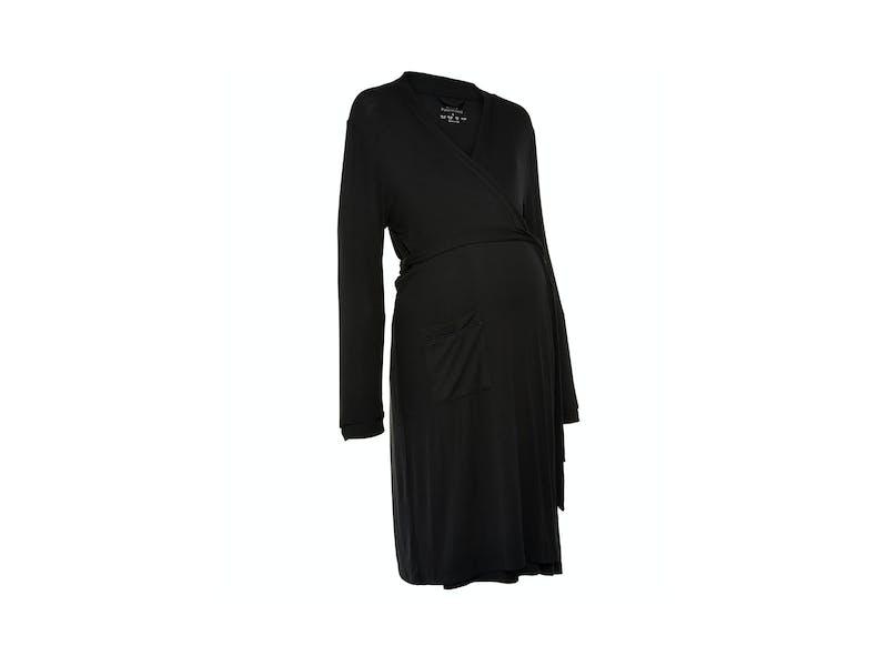 Black Maternity Rib Robe