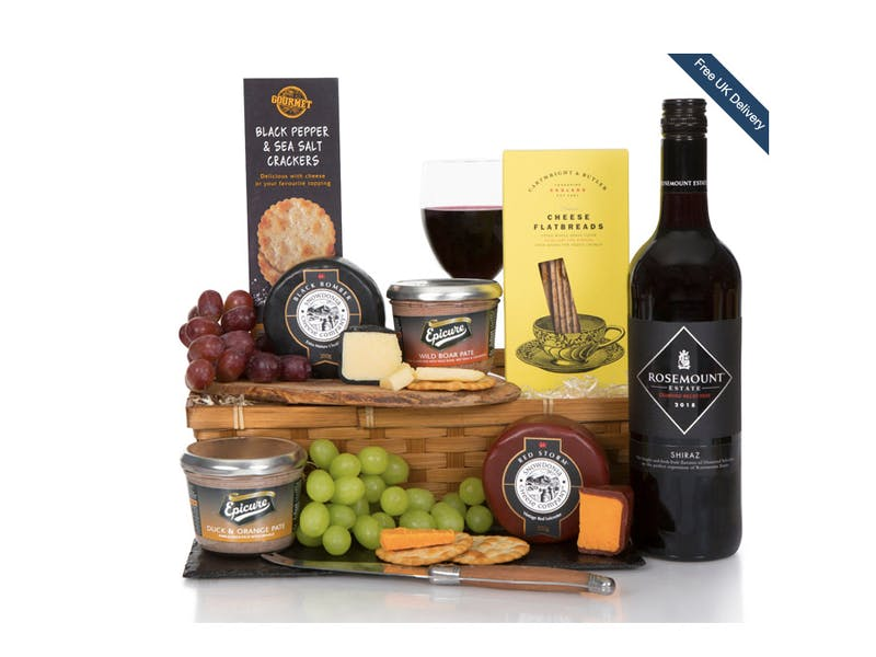 Cheese, wine and pate hamper