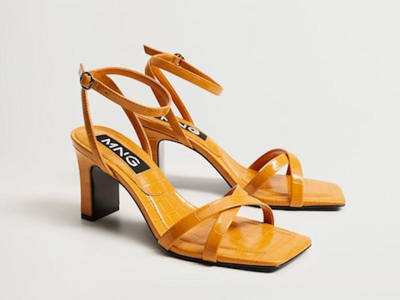 Heel croc-effect sandals
