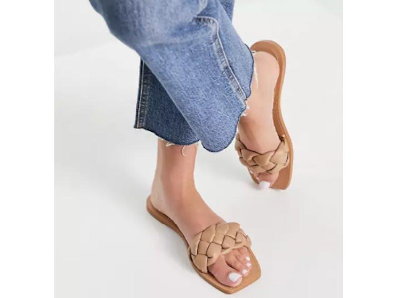 Stradivarius plaited strap sandal in brown