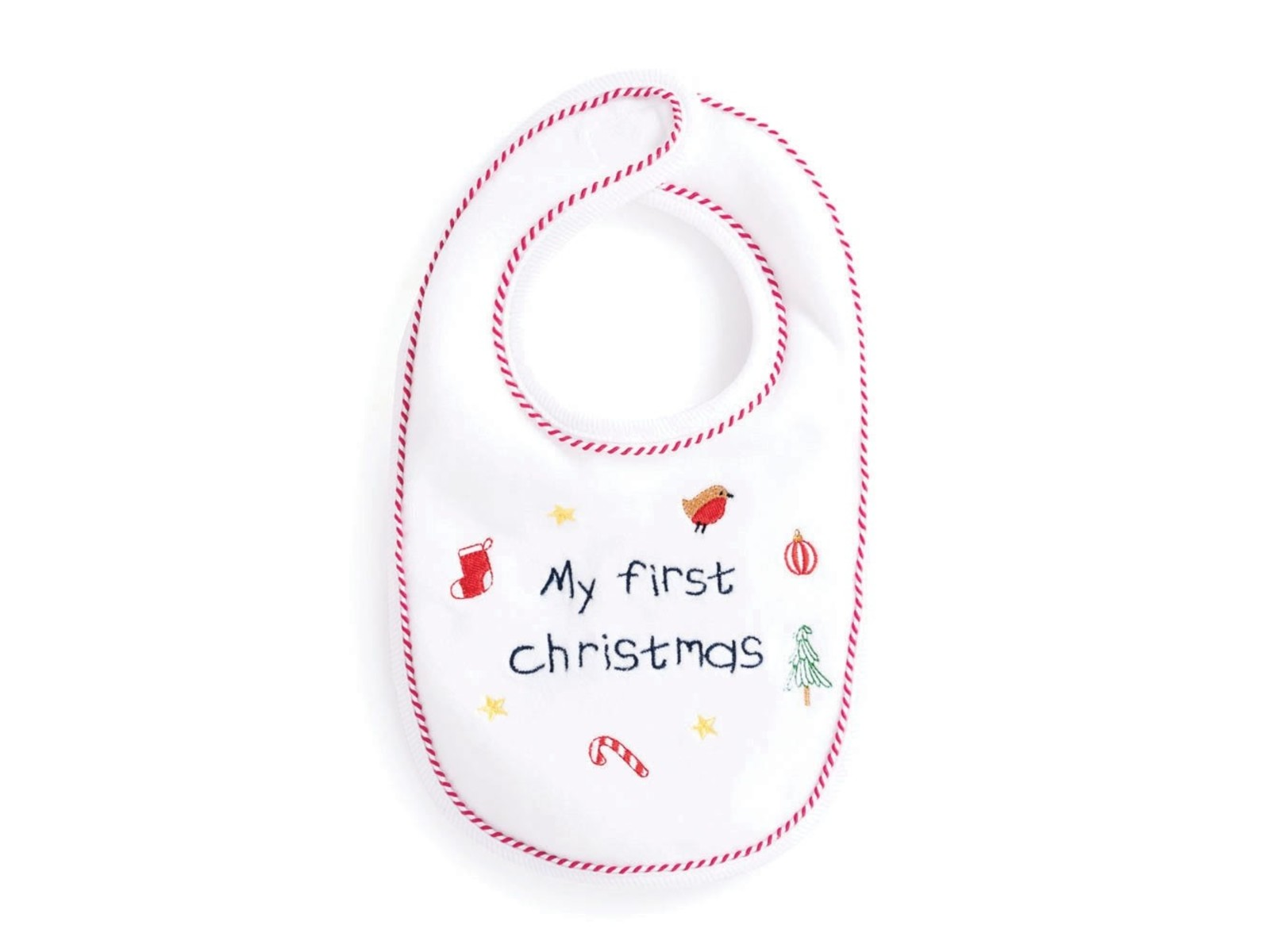 -Add any name change colours Embroidered Baby/'s First Christmas Bib Snowflake
