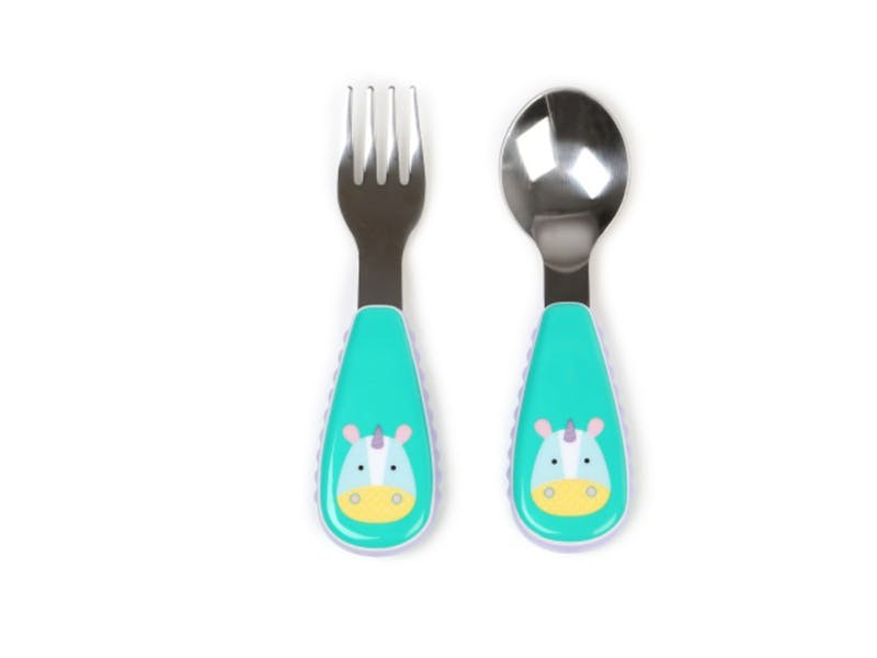2. Zootensils Little Kid Fork and Spoon in Unicorn