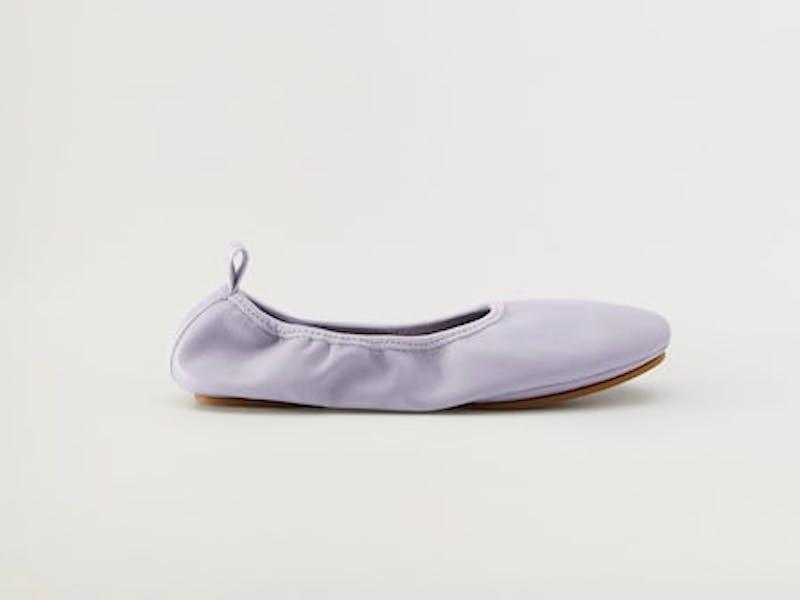 Elastic leather ballet shoes
