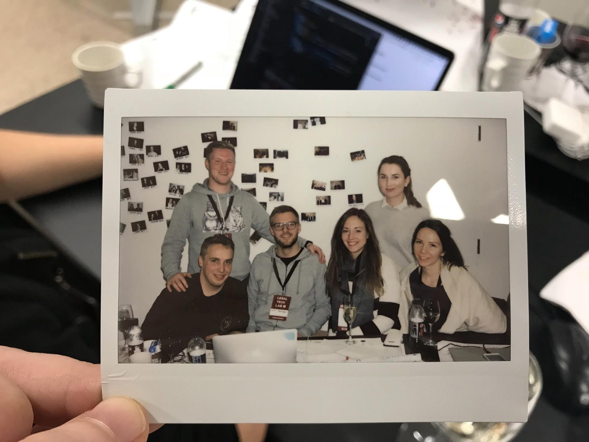 Polaroid picture of the team