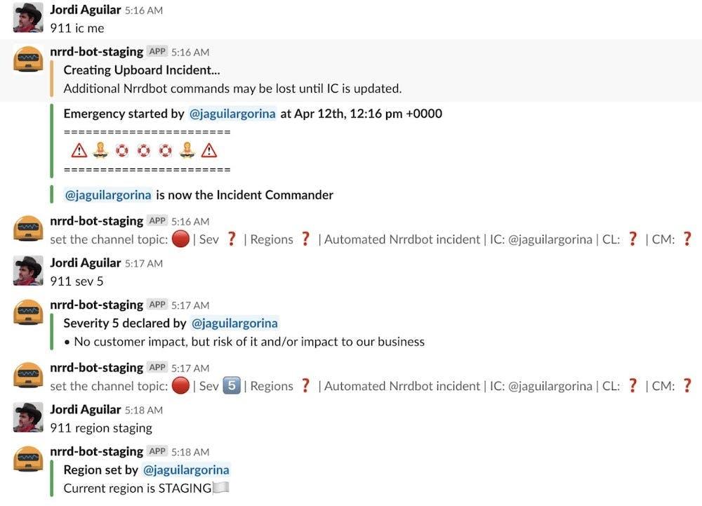 Beispiel einer Vorfallsdiskussion in Slack