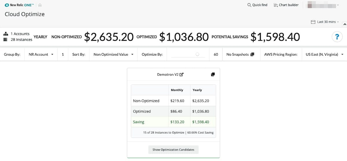 Figure 15. New Relic Cloud Optimize tool showing potential savings.