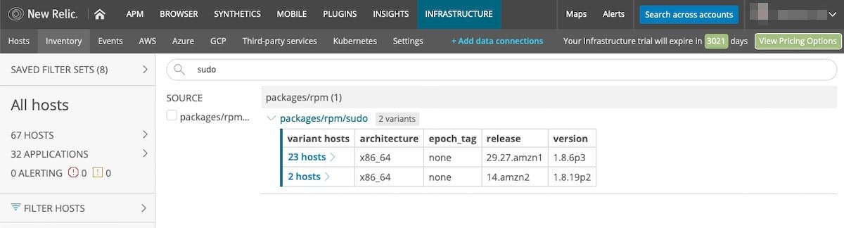 Figure 6. New Relic Infrastructure showing two hosts that contain a version of a package that includes a security threat.