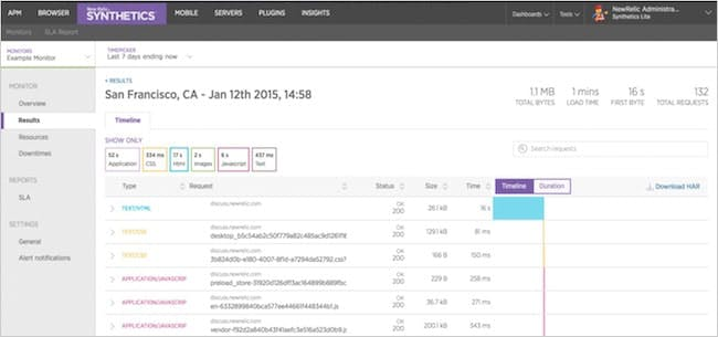 Figure 8. Monitor results in New Relic Synthetics