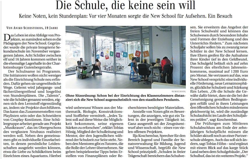 Zeitungsartikel NewSchool Berliner Zeitung