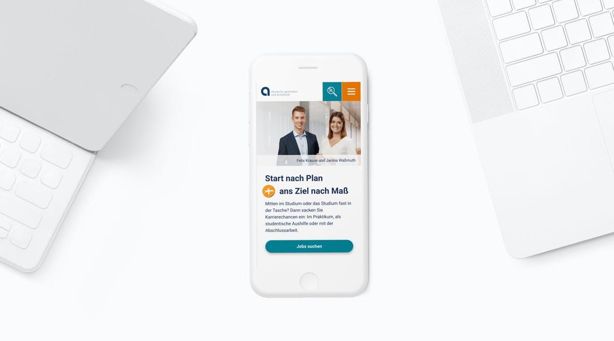apoBank Karriere-Website: Mobile optimierte Darstellung der Karriere-Website