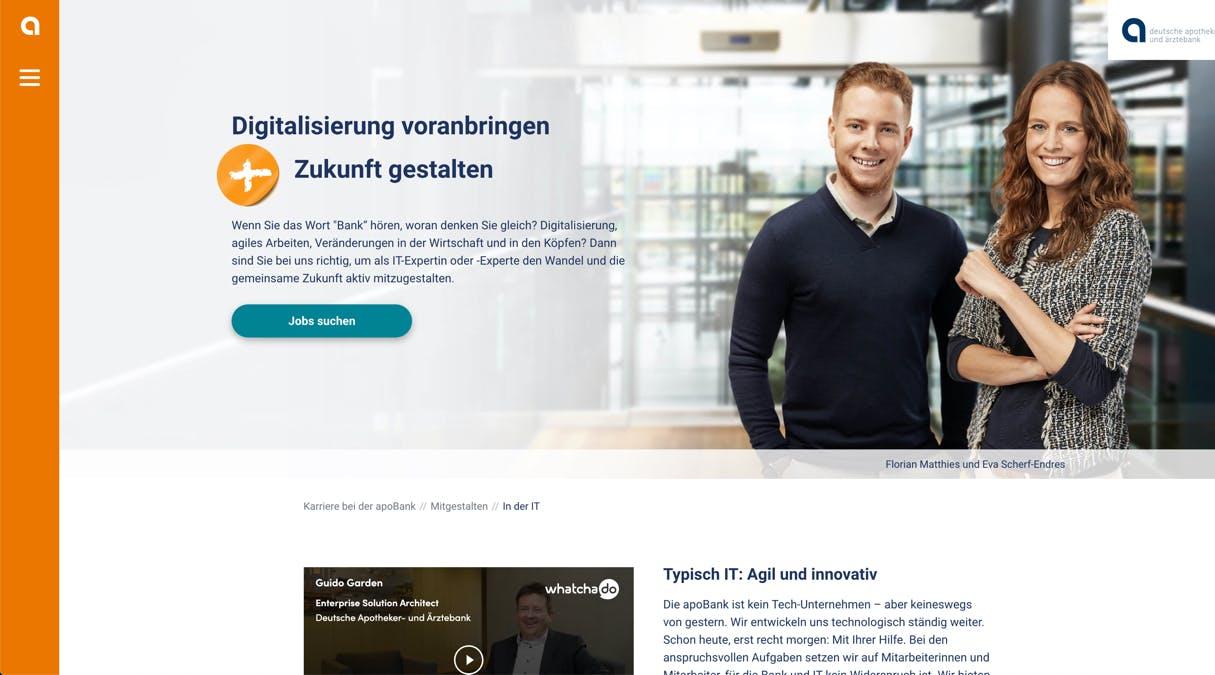 apoBank Karriere-Website: Vorschau der Candidate Journey