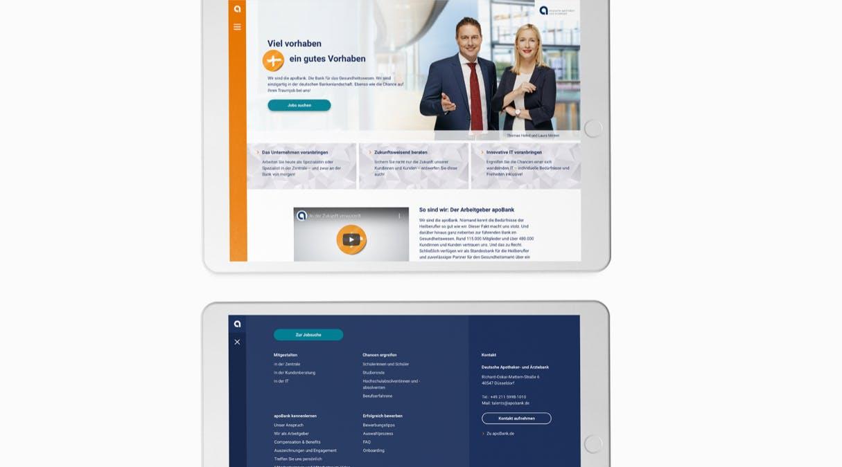 apoBank Karriere-Website: Navigation und Design der Karriere-Website