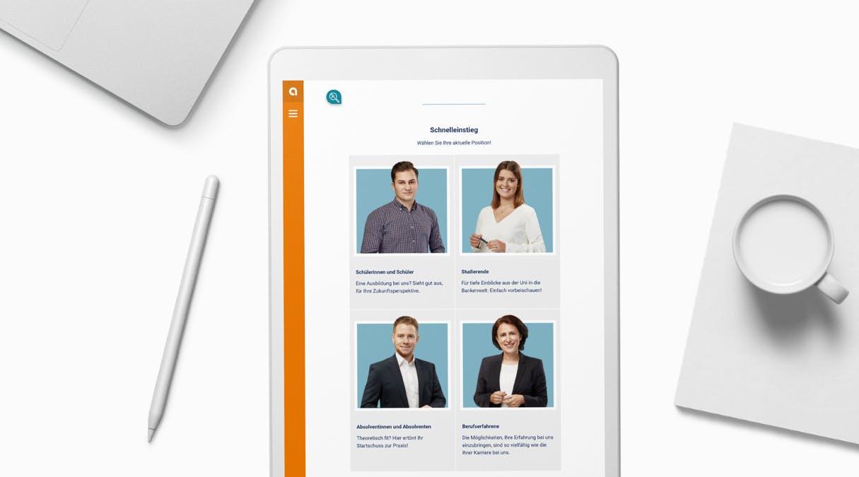 apoBank Karriere-Website: Darstellung der Karriereeite auf dem Tablet