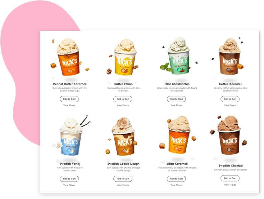 grid of different flavors of n!cks ice cream