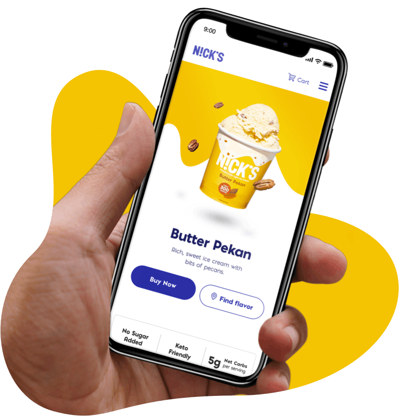 hand holding cell phone showing butter pekan ice cream