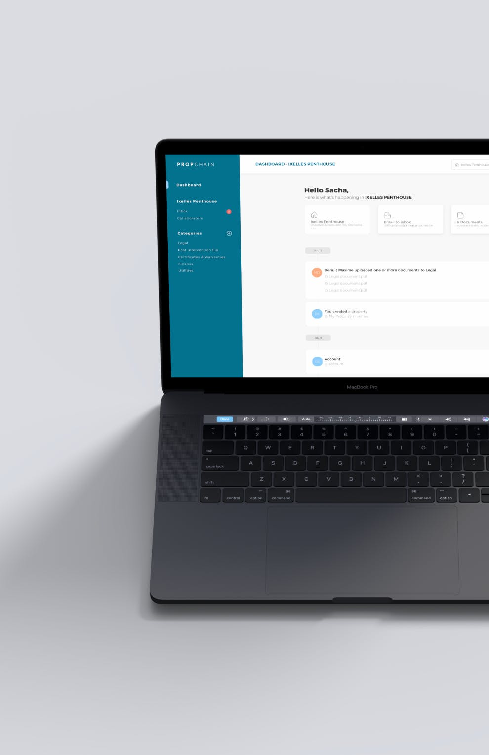 Homepage of Propchain web application in 13inch Macbook pro made by Nightborn