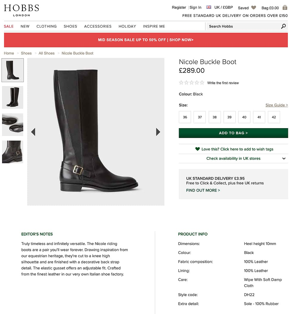 Product Description - Boots