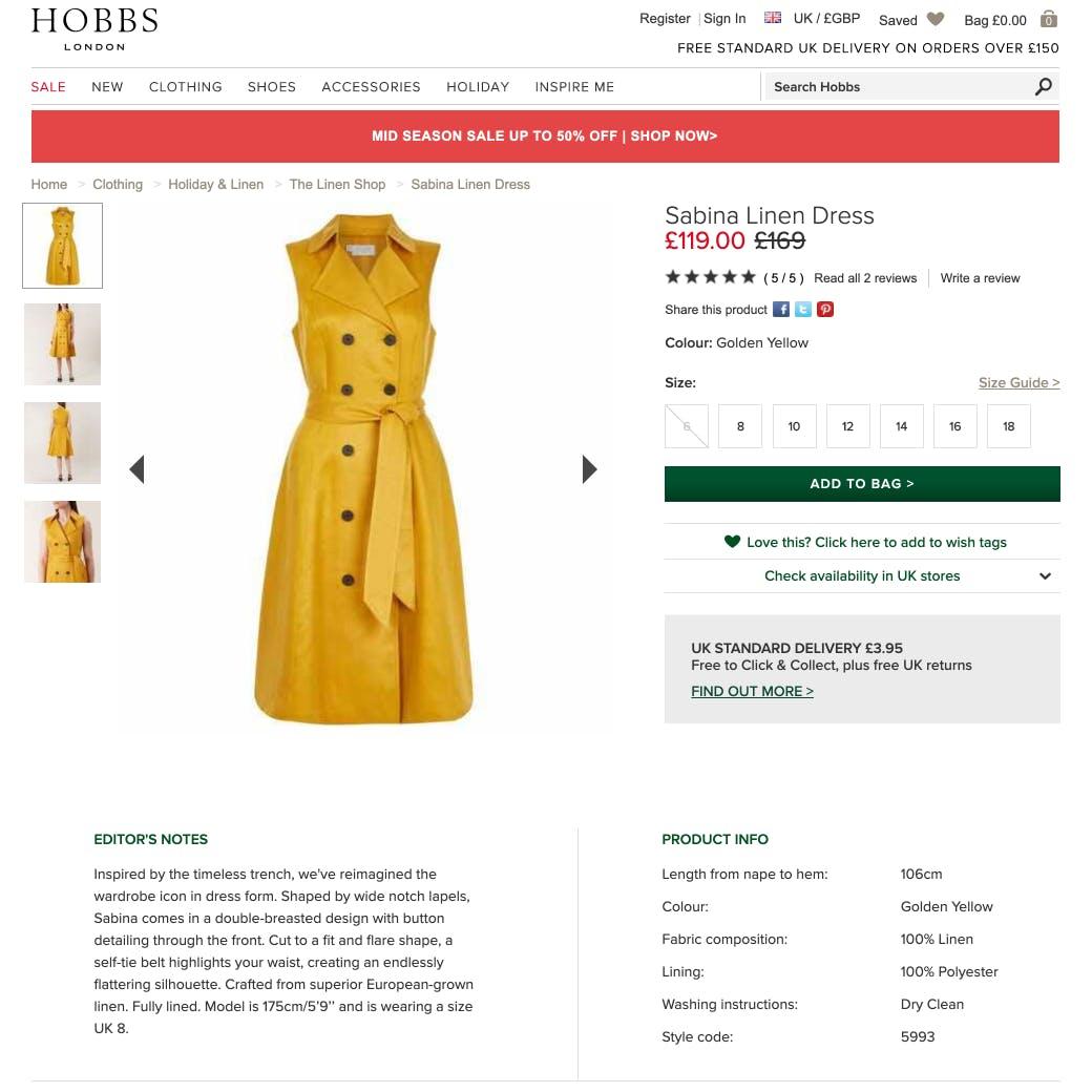 Product Description - Yellow Dress