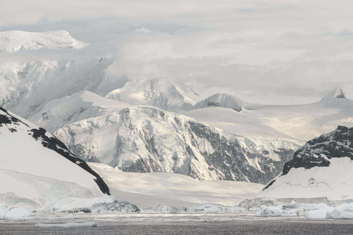 Unclimbed peaks in a mountain range in Antarctic