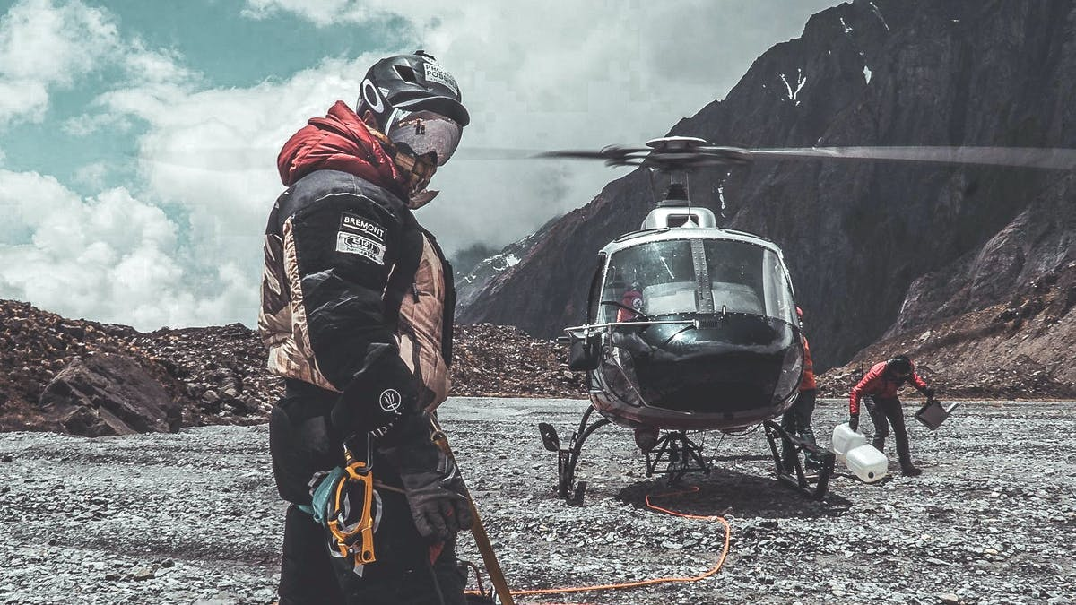 Nims preparing for a rescue by helicopter