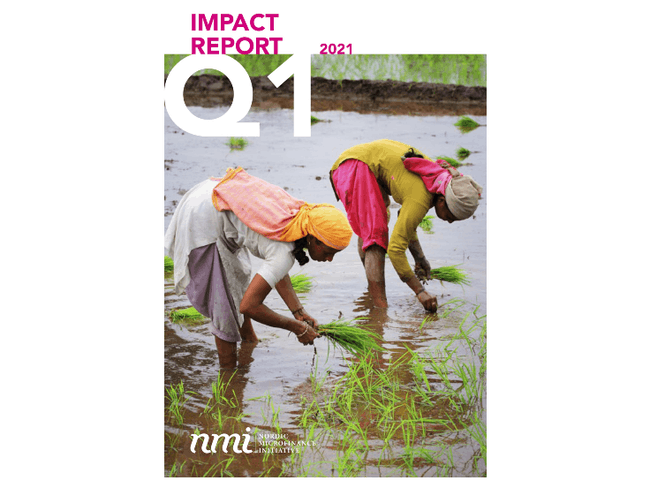 (Report Cover) Farmer rice planting in India.