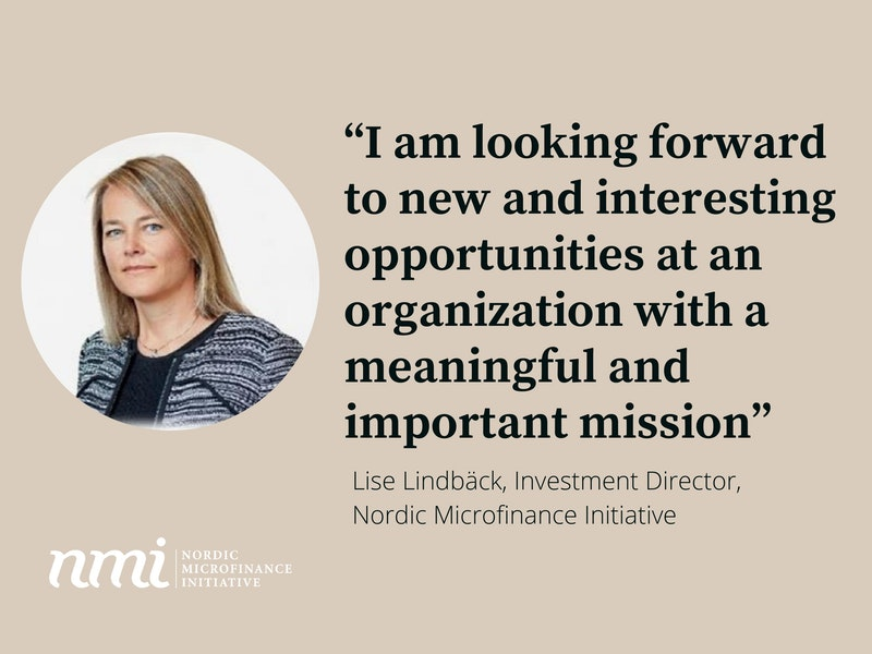 Lise Lindbäck joins Nordic Microfinance Initiative as an Investment Director