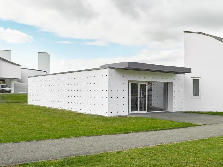 """Architecture of the building where """"ECAL Graphic Design"""" was exhibited at Vitra Design Museum, Weil am Rhein, Germany"""
