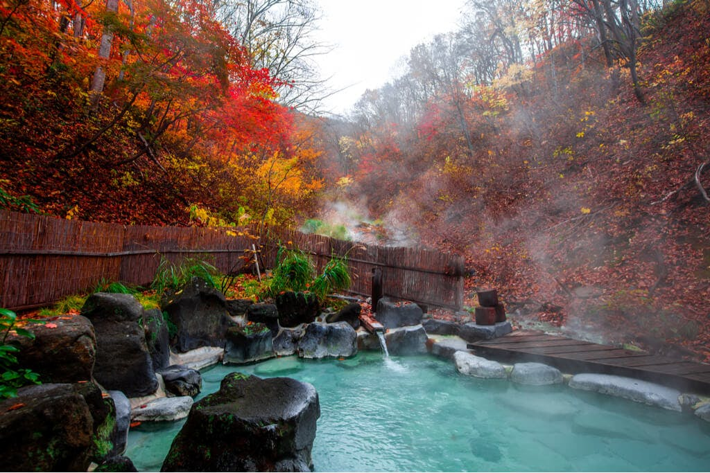 An outdoor onsen with rocks around it and outside of the fence has trees that are changing colors for fall