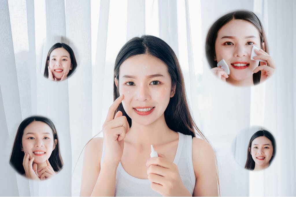 A woman with several smaller pictures of herself around her, all doing some part of a skincare routine