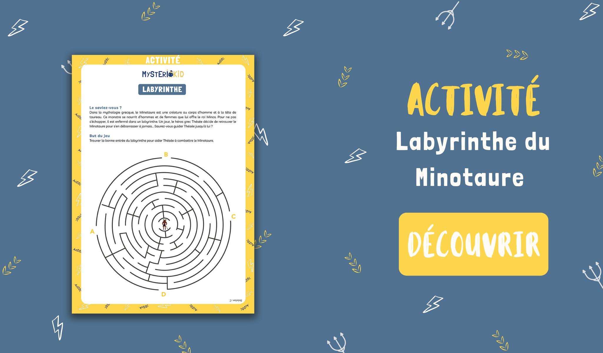 Activité pour enfant à télécharger gratuitement Mysteriokid : le labyrinthe du Minotaure