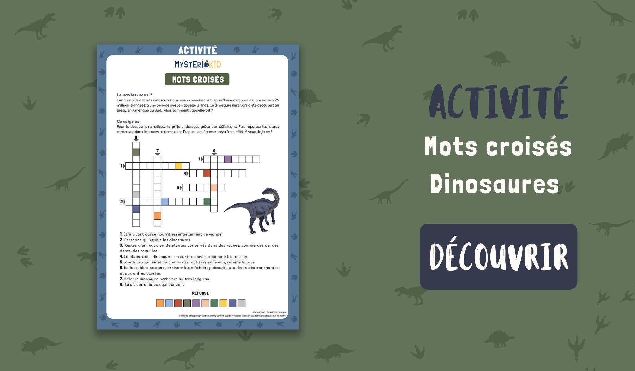 Activité mots croisés à télécharger gratuitement pour les enfants à partir de 7 ans sur le thème des dinosaures